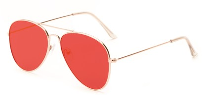 Angle of Knox #2186 in Gold Frame with Red Lenses, Women's and Men's Aviator Sunglasses