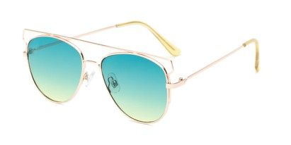 Angle of Vine #2192 in Gold Frame with Blue/Yellow Faded Lenses, Women's Round Sunglasses