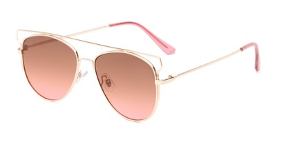 Angle of Vine #2192 in Gold Frame with Amber/Pink Faded Lenses, Women's Round Sunglasses