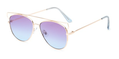 Angle of Vine #2192 in Gold Frame with Purple/Blue Faded Lenses, Women's Round Sunglasses