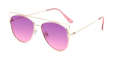Angle of Vine #2192 in Gold Frame with Purple/Pink Faded Lenses, Women's Round Sunglasses