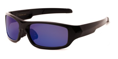 Angle of Ripcord #2194 in Black Frame with Blue Smoke Lenses, Men's Sport & Wrap-Around Sunglasses