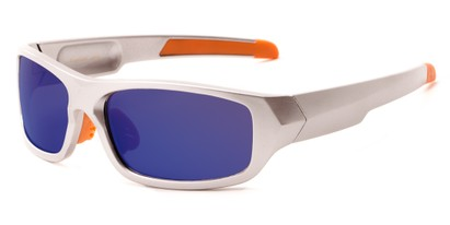 Angle of Ripcord #2194 in Silver/Orange Frame with Blue Smoke Lenses, Men's Sport & Wrap-Around Sunglasses