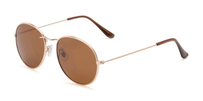 Angle of Palmer #2197 in Gold Frame with Amber Lenses, Women's and Men's Round Sunglasses