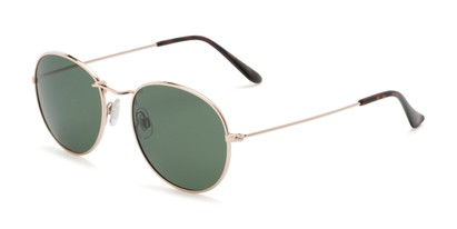 Angle of Palmer #2197 in Gold Frame with Green Lenses, Women's and Men's Round Sunglasses