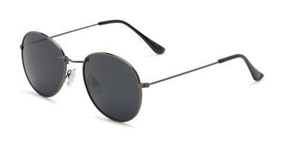 Angle of Palmer #2197 in Grey Frame with Grey Lenses, Women's and Men's Round Sunglasses