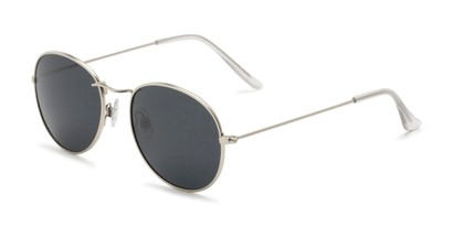 Angle of Palmer #2197 in Silver Frame with Grey Lenses, Women's and Men's Round Sunglasses