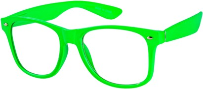 Angle of SW Clear Retro Style #8912 in Green Frame, Women's and Men's