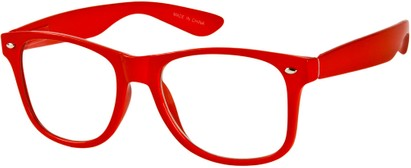 Angle of SW Clear Retro Style #8912 in Red Frame, Women's and Men's