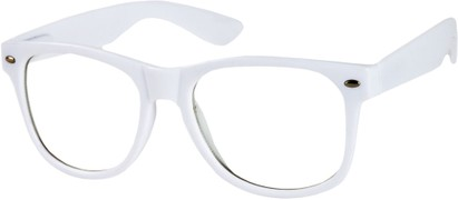 Angle of SW Clear Retro Style #8912 in White Frame, Women's and Men's