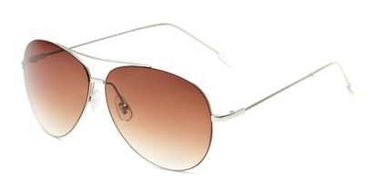 Angle of Scoresby #2268 in Silver Frame with Amber Gradient Lenses, Women's and Men's Aviator Sunglasses