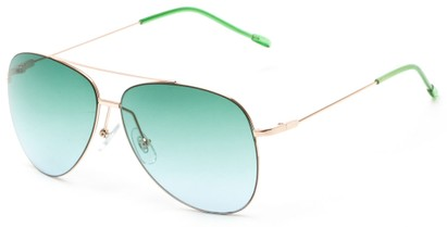Angle of Scoresby #2268 in Gold/Green Frame with Green Gradient Lenses, Women's and Men's Aviator Sunglasses