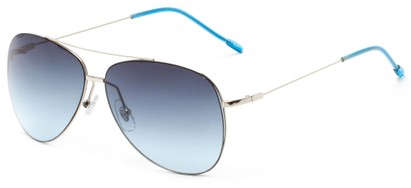 Angle of Scoresby #2268 in Silver/Blue Frame with Blue Gradient Lenses, Women's and Men's Aviator Sunglasses