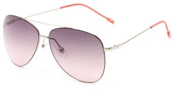 Angle of Scoresby #2268 in Silver/Pink Frame with Pink Gradient Lenses, Women's and Men's Aviator Sunglasses