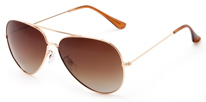 Angle of Crest #2269 in Gold Frame with Gradient Amber Lenses, Women's and Men's Aviator Sunglasses
