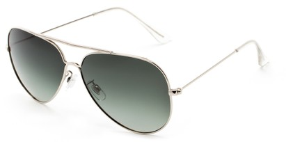 Angle of Crest #2269 in Silver Frame with Gradient Green Lenses, Women's and Men's Aviator Sunglasses