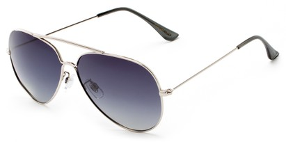 Angle of Crest #2269 in Silver Frame with Gradient Smoke Lenses, Women's and Men's Aviator Sunglasses