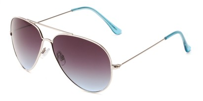 Angle of Watershed #9622 in Silver/Blue Frame with Smoke Lenses, Women's and Men's Aviator Sunglasses