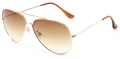 Angle of Watershed #9622 in Gold/Brown Frame with Brown Lenses, Women's and Men's Aviator Sunglasses