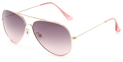 Angle of Watershed #9622 in Gold/Pink Frame with Pink Lenses, Women's and Men's Aviator Sunglasses
