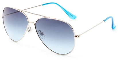 Angle of Watershed #9622 in Silver/Light Blue Frame with Blue Lenses, Women's and Men's Aviator Sunglasses