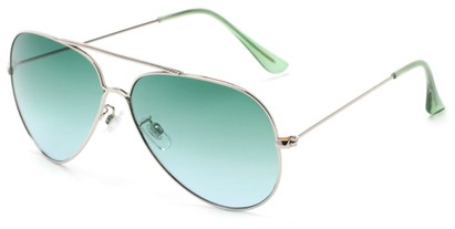 Angle of Watershed #9622 in Silver/Green Frame with Green Lenses, Women's and Men's Aviator Sunglasses