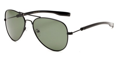 Angle of Douglas #22811 in Black Frame with Green Lenses, Women's and Men's Aviator Sunglasses