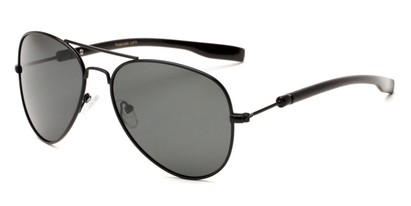 Angle of Douglas #22811 in Black Frame with Smoke Lenses, Women's and Men's Aviator Sunglasses