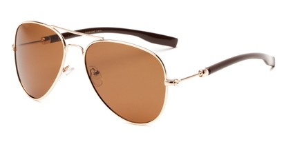 Angle of Douglas #22811 in Gold/Dark Brown Frame with Amber Lenses, Women's and Men's Aviator Sunglasses