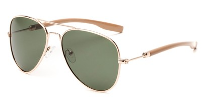 Angle of Douglas #22811 in Gold/Light Brown Frame with Green Lenses, Women's and Men's Aviator Sunglasses