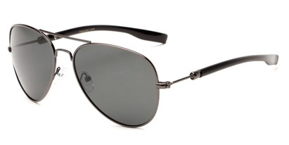 Angle of Douglas #22811 in Grey Frame with Smoke Lenses, Women's and Men's Aviator Sunglasses