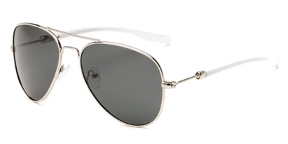 Angle of Douglas #22811 in Silver/White Frame with Smoke Lenses, Women's and Men's Aviator Sunglasses