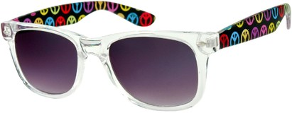 Angle of SW Retro Style #217 in Clear and Black with Peace Signs, Women's and Men's
