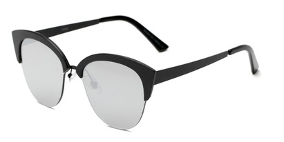 Angle of Avery #2305 in Black Frame with Silver Mirrored Lenses, Women's Cat Eye Sunglasses
