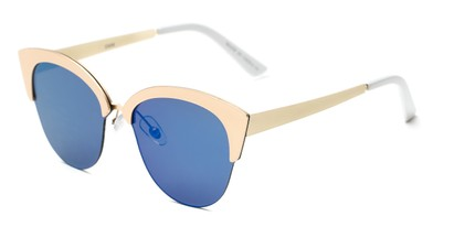Angle of Avery #2305 in Gold Frame with Blue Mirrored Lenses, Women's Cat Eye Sunglasses