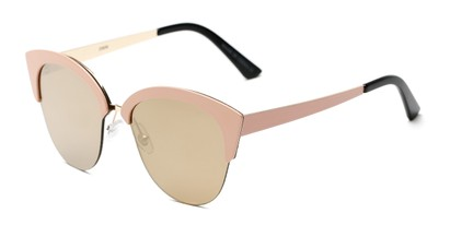 Angle of Avery #2305 in Light Pink Frame with Gold Mirrored Lenses, Women's Cat Eye Sunglasses