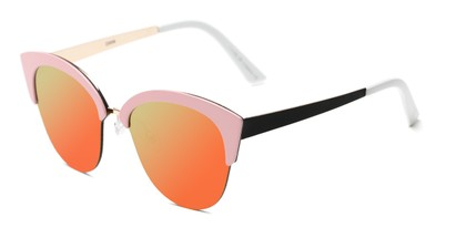 Angle of Avery #2305 in Pink Frame with Orange/Yellow Mirrored Lenses, Women's Cat Eye Sunglasses
