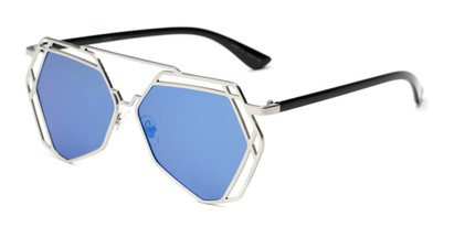 Angle of Blake #23058 in Silver Frame with Blue Mirrored Lenses, Women's Aviator Sunglasses