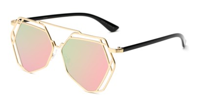 Angle of Blake #23058 in Gold Frame with Pink/Green Mirrored Lenses, Women's Aviator Sunglasses