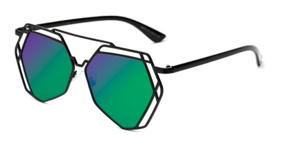 Angle of Blake #23058 in Black Frame with Green/Purple Mirrored Lenses, Women's Aviator Sunglasses