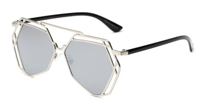Angle of Blake #23058 in Silver Frame with Silver Mirrored Lenses, Women's Aviator Sunglasses