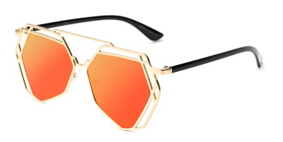 Angle of Blake #23058 in Gold Frame with Orange/Yellow Mirrored Lenses, Women's Aviator Sunglasses