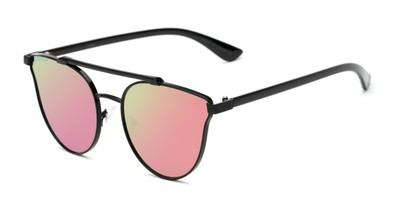 Angle of Surrey #23064 in Black Frame with Pink/Green Mirrored Lenses, Women's Cat Eye Sunglasses