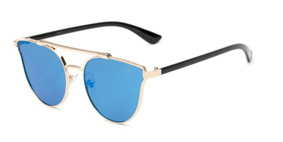 Angle of Surrey #23064 in Gold/Black Frame with Blue Mirrored Lenses, Women's Cat Eye Sunglasses