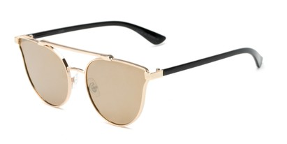 Angle of Surrey #23064 in Gold/Black Frame with Gold Mirrored Lenses, Women's Cat Eye Sunglasses