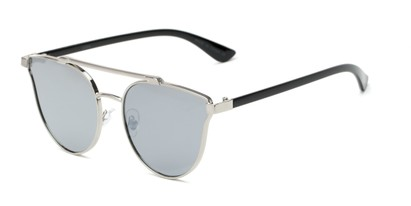 Angle of Surrey #23064 in Silver/Black Frame with Silver Mirrored Lenses, Women's Cat Eye Sunglasses