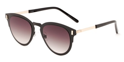 Angle of Rowdy #23068 in Black/Gold Frame with Smoke Lenses, Women's and Men's Round Sunglasses