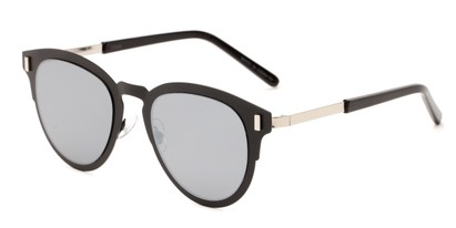 Angle of Rowdy #23068 in Black/Silver Frame with Silver Mirrored Lenses, Women's and Men's Round Sunglasses