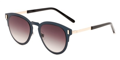 Angle of Rowdy #23068 in Blue/Gold Frame with Smoke Lenses, Women's and Men's Round Sunglasses