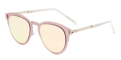 Angle of Rowdy #23068 in Pink/Silver Frame with Pink Mirrored Lenses, Women's and Men's Round Sunglasses